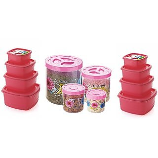 Airtight Plastic Food Storage Containers Set of 12 PCS (1350 ml 750 ml 500 ml 250 ml) Pink