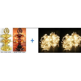Electric Diya LED Lamp 2 Layer  for Christmas with 2 pcs Apprx 5mtr string rice lights assorted color