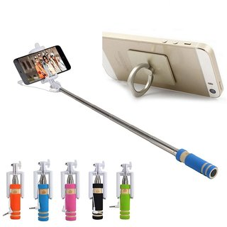 KSJ Combo of Selfie Stick and Ring mobile holder (Assorted Colors)