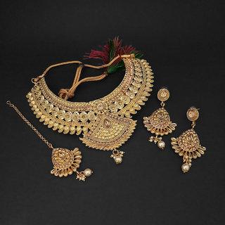 JewelMaze Brown Austrian Stone Choker Necklace Set With Maang Tikka-1107997A