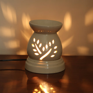 Skycandle Electric Ceramic Candle Holder White Color Leaf Cutwork DesignPot ShapedUniquely SimpleFlowery Shadow Imp