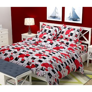 XY Decor Poly Cotton Double Bed Sheet With 2 Pillow Covers S6