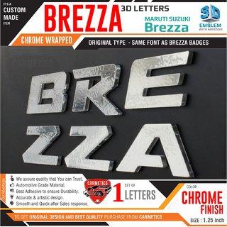 CarMetics Brezza 3d Letters for Vitara Brezza  Chrome Wrapped 3d Stickers Brezza accessories logo emblem Decals