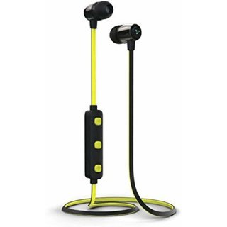 Syska H-15 In the Ear Yellow Wireless Bluetooth Headset Earphone With Mic