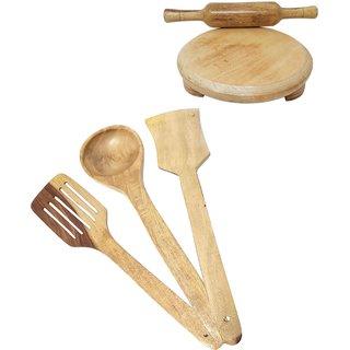 Desi Karigar Wooden Tools Of Kitchen (Set Of 5)