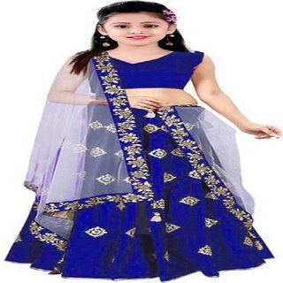 F Plus Fashion Heavy Embroidered Kids Party Wear Semi Stitched Lehenga Choli Comfortable To (8-13) Year Girls .