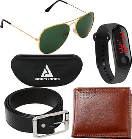 Adam Jones Green Aviator with free Silicone digital LED band watch+Wallet+Belt