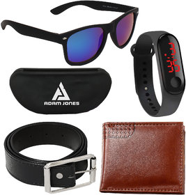 Adam Jones Blue Wayfarer UV Protection Medium Sunglasses with free Silicone Digital LED Band Watch+Wallet+Belt