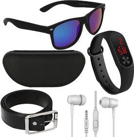 Adam Jones Blue UV Protected Wayfarer Men's Sunglasses With Free Silicone Digital LED Band Watch, Earphone, Belt