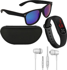 Adam Jones Men Wayfarer Sunglasses With Free Silicone Digital LED Band & Earphone