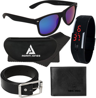 57e7a96a82a Adam Jones Blue Wayfarer Medium Sunglasses with free Silicone Digital LED  Band Watch+Wallet+