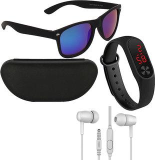 Adam Jones Men Wayfarer Sunglasses With Free Silicone Digital LED Band & Earphone