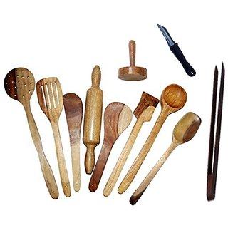 Desi Karigar Wooden Spoon Set Of 11 Pcs/ Wooden Spatula, Ladle  Kitchen Tools Set
