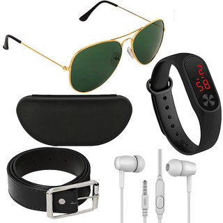 Adam Jones Green Aviator with free Silicone digital LED band Watch+Earphone+Belt