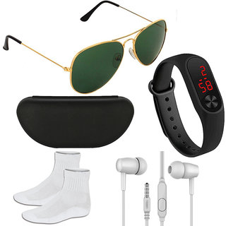 Adam Jones Green Aviator with free Silicone digital LED band Watch+Earphone+Socks