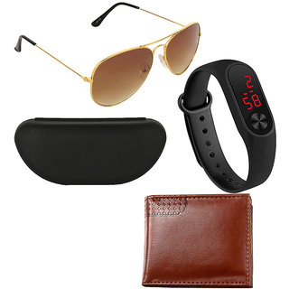 Adam Jones Gold and Brown Gradient UV Protected Aviator Sunglasses with free Silicone digital LED band Watch+Wallet