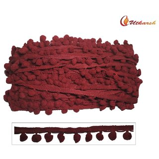 Utkarsh Wg0006 Red Color Pum-pum Laces Gota Patti Hanging Balls Machine Made Embroidery 1 Inch Width And 25 Mtr Reel