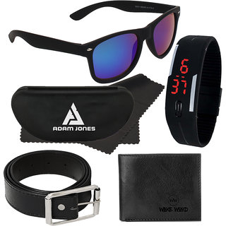 Adam Jones Blue Wayfarer Medium Sunglasses with free Silicone Digital LED Band Watch+Wallet+Belt