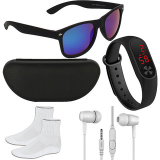 Adam Jones Blue UV Protected Wayfarer Men's Sunglasses With Free Silicone Digital LED Band Watch, Earphone, Socks