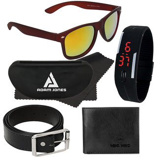 Adam Jones Brown Uv Protected Wayfarer Full Rim Mens Sunglass With Free Silicone Digital Led Band Watch+Wallet+Belt