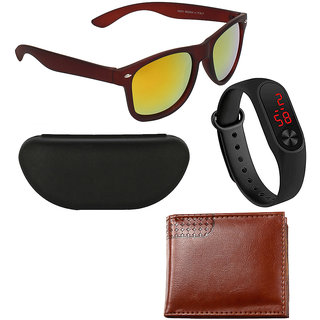 Adam Jones Brown Uv Protected Wayfarer Full Rim Mens Sunglass With Free Silicone Digital Led Band Watch+Wallet