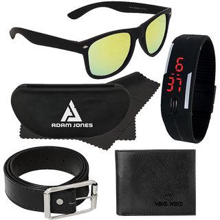 Adam Jones Green Mirrored Wayfarer Matt Finish Sunglasses with free Silicone digital LED band watch+Wallet+Belt View on