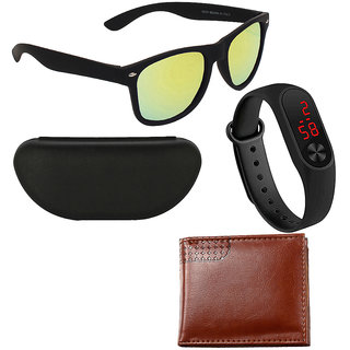 Adam Jones Green Mirrored Wayfarer Matt Finish Sunglasses with free Silicone digital LED band watch+Wallet