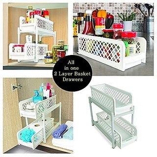 Styleys 15 Versatile 2 Tier Portable Sliding Basket Drawers Storage Cabinet Box