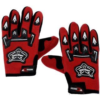 Alpha Man Red colour Motor Biker Riders Full Finger  Gloves