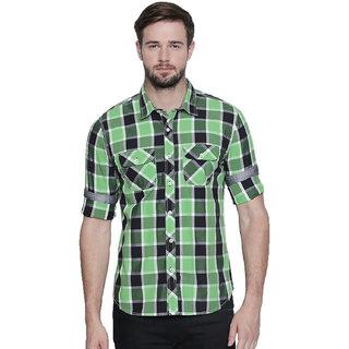 Jeaneration Green Cotton Checks Slim Fit Shirt for Men