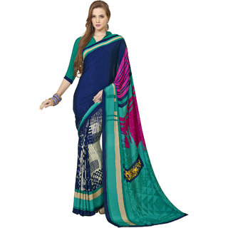 THIYA Blue Crepe Printed Women's Saree With Blouse Piece
