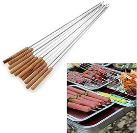 Right Traders 10 Pcs Stainless Steel Barbecue Skewers with Wood Handle Marshmallow Roasting Sticks