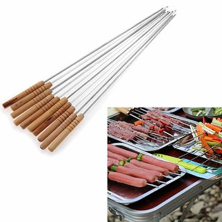 Right Traders Brown Stainless Steel Barbeque Skewers With Wood Handle Pack of 10