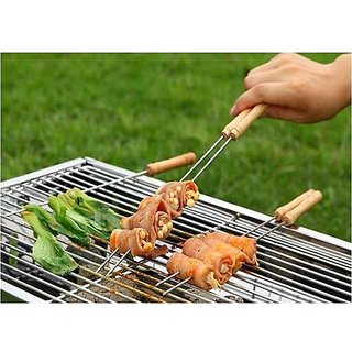K Kudos 20 Pcs Stainless Steel Barbecue Skewers with Wood Handle Marshmallow Roasting Sticks