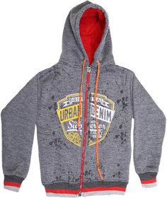 ISHU Kids Grey printed full Sleeves Hood