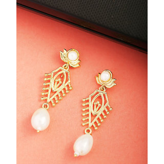3e19ef688b76d Voylla Gold Plated Drop Earrings with Pearls For Women