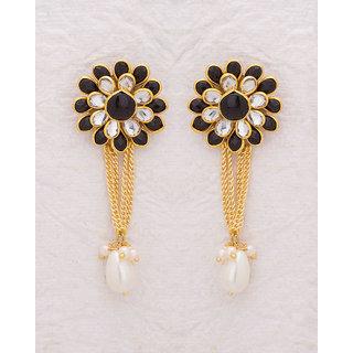 Voylla White and Black Gem Studded Drop Earrings For Women
