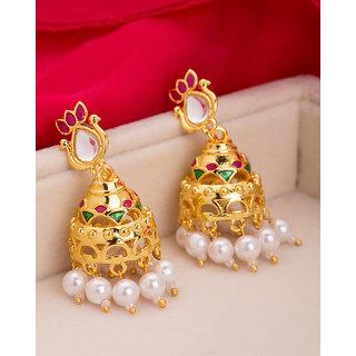 Voylla Marvelous Golden Droplet Earrings For Women
