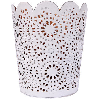 H & W White/Copper Metal Table Candle Holder for Diwali- Set of 1 (10 x 10 x 11 cm)