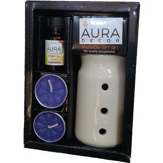 Aura Premium Gift Set for Diwali (1 Oil Burner, 2 Tealight Candle, 1 Aroma Oil)