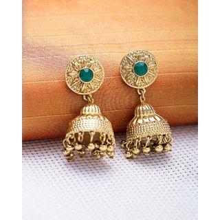 7e54f7415 Buy Voylla Green Stone Jhankar Gold Plated Jhumka Earrings For Women Online  - Get 58% Off