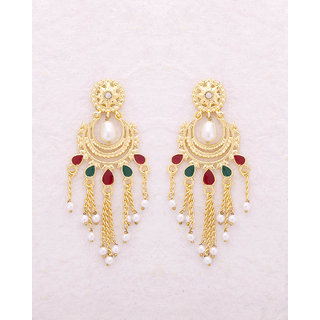 Voylla Chaynika Gold Plated Chandbali Dangler Earrings For Women