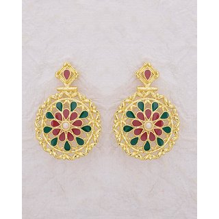 Voylla Ethnic Drop Earrings with Enamel Details For Women