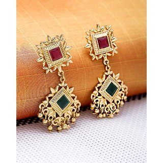 Voylla Symmetric Gold Plated Jhankar Dangler Earrings For Women