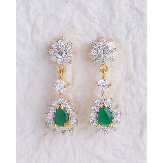 Voylla Exquisite Earrings Adorned with White and Green Gems For Women