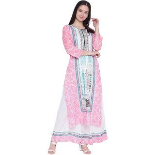 GLOYE Pink Printed Rayon Stitched Kurti