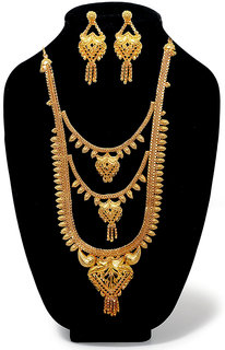 JewelMaze Bronze Gold Plated Austrian Diamond Wedding Necklace Set-1108120 For Women