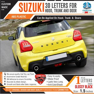 CarMetics Suzuki 3D Letters for Maruti Suzuki Dzire Glossy Black 3d-Sticker Emblem Logo Accessorie Decals Exterior