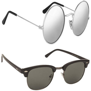 9a50c443fbb Buy Fast Fox Gandhi Round Silver and Club-Master Sunglasses Combo ...