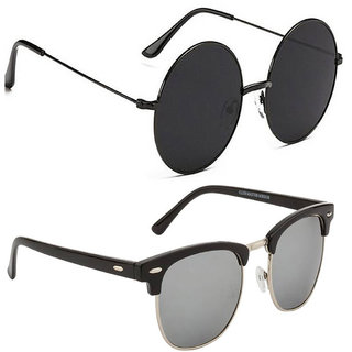 5a83c9aaded Buy Fast Fox Gandhi Round Black and Club-Master Sunglasses Combo ...